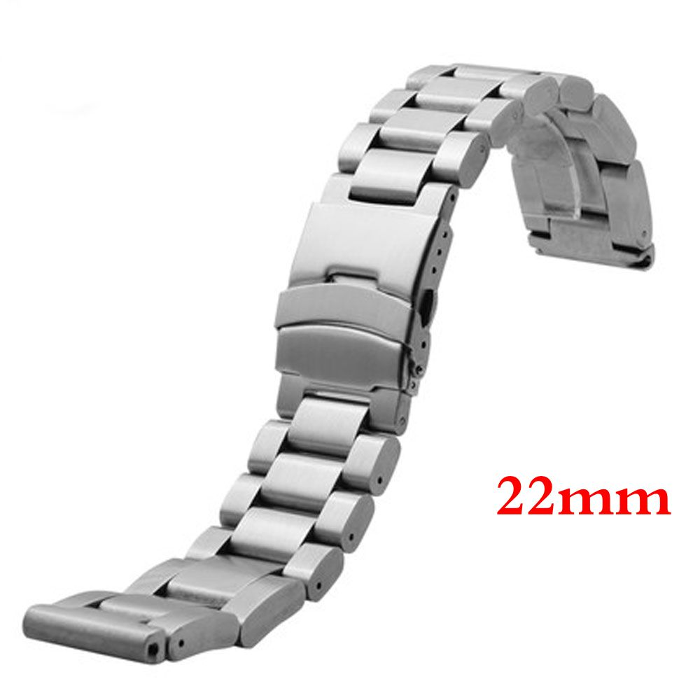 Fashion Men Womn Watch Band 22mm Silvery Stainless Steel Strap for Hours with Folding Claps with Safty Replacement GD013522<br>