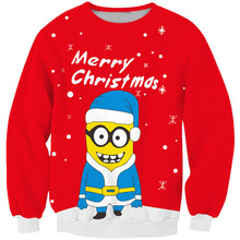 LiZhiYang NEW Fashion hot Christmas style men women's 3D print Small yellow people sweatshirt enchantress pullover free shipping