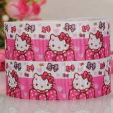 "50 yards 7/8 "" 22 mm hot pink lively hello kitty pattern print grosgrain tape cartoon ribbons hair bow"