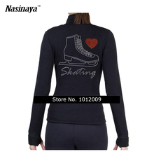 Customized Clothes Ice Figure Skating Tops Jacket Gymnastics Black Warm Fleece Adult Child Girl Clothing Skater Heart Rhinestone