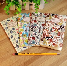 1pcs/lot 173*90mm Vintage Fresh Flower World series Kraft Paper notebook Korea style Diary blank inner planner retail(China)