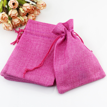 Jute Bag Drawstring burlap Gift bags Candy Packaging Bags for Handmade Soap Storage/ Wedding Decor 100pcs 13x18cm Hot Pink Color(China)
