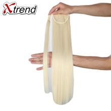 Xtrend 24inch Long Synthetic Hair Ponytail Straight Hairpieces Black Blond Clip In Fake Hair For Women High Temperature Fiber(China)
