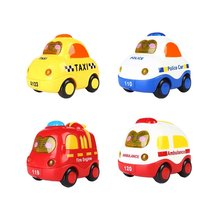 4 Set Push and Go Mini Car, Friction Powered, Screen Button for Light and Music, Poly Car, Fire truck, Ambulance, Taxi
