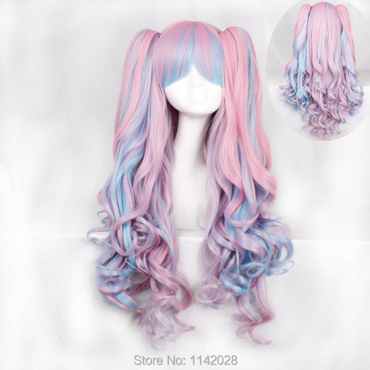 Lolita 65cm Pink Blue Wave Medium Long Synthetic Hair Cosplay Costume Wig<br><br>Aliexpress