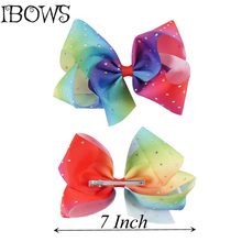 1PC High Quality Big Bows Lovely Girls Large Hair Bows With Diamond Rhinestines Kids Ribbon Hair Clips Hair Accessories