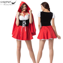 SAYFUT 2016 New Sexy Halloween Costumes For Women Adult Costume Cosplay Little Red Hood Cloak And Dress Fantasy Game Uniforms