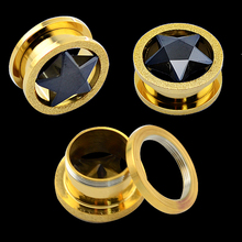New star zircon design plate gold stainless steel ear flesh plugs fashion factory priceear flesh tunnels piercings
