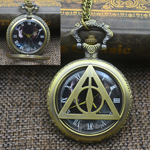 Fashion Quartz Harry Potter Pocket Watch Necklace Women Retro Vintage Men FOB Watches Cute Cartoon Bronze Gift Girl Kid(China)