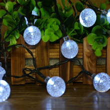 5pcs/lot Solar Power Fairy 2.5cm big Size Crystal Ball String Lights 5M 30 LED Christmas tree lights Decorative For Outdoor