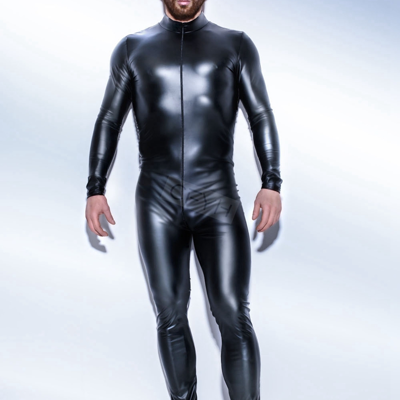Plus M-XXXL Strong Men Black PVC Leather Latex Bodysuit Top PU Sexy Zentai Catsuit Gay Male Leotard Open Crotch Zipper Jumpsuit