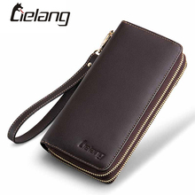 LIELANG Genuine Leather Men Wallets Double Zipper Money Clip Male Walet Fashion Male Purses Long Phone Wallet Man's Clutch Bags(China)