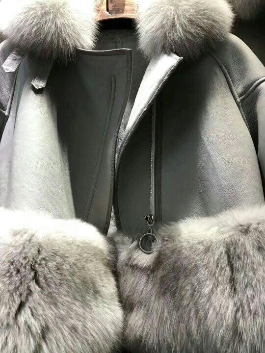 genuine sheep leatherskin jacket fox fur cooar coats (37)
