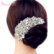 New Luxury Bridal Wedding Flower Crystal Rhinestone Hair Clip Comb Pin Drops Alloy Bridesmaid wedding Accessories JewelryRE245(China)