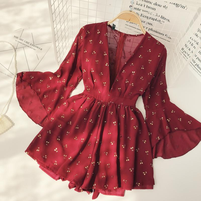 Vintage Bohemia Playsuits Women Cherry Printed Deep V-neck High Waist Slim Holiday Beach Wide-legged Shorts Pants Jumpsuits