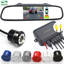 3in1 Car Visible Parking Assistance, 4.3 Inch TFT Mirror Monitor With Rear View Camera and Video Reverse Radar Parking Sensor