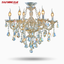 2017 Top Fasion TIffany Candle K9 Crystal Light Chandelier Lamp Lighting For Living Room Lights Foyer Lamps Free Shipping(China)