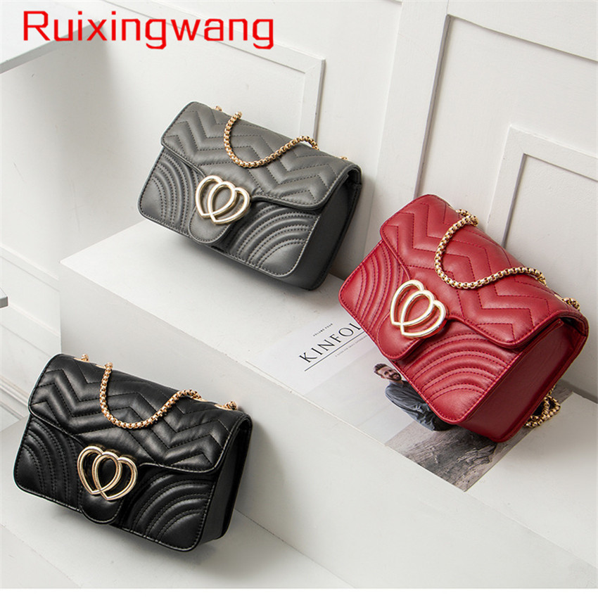 RUIXINGWANG all-match fashion Woman Package Chain Small Square Singles Shoulder Package 2018 New Pattern Ma'am Small Bag Tide