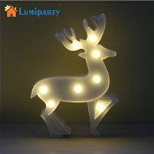 LumiParty LED Reindeer Night Light Cordless Table Lamp Christmas Marquee Sign with 8 LED Lights for Christmas Party Decoration(China)