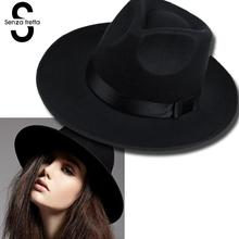 New Wool Boater Flat Top Hat For Women's Felt Wide Brim Fedora Soft Hat Bowler Gambler Floppy Cloche Women Panama Top Hat D0451(China)