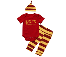 2007 Baby Clothes Set Summer Short Sleeve Harry Potter Outfits Letter Print Bodysuit Romper +Stripped Pant Hat 3PCS Clothing Set