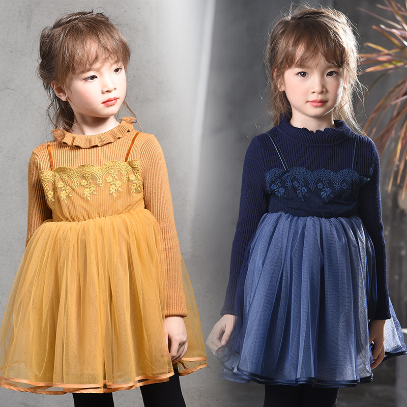Retail Girls new children  tutu dresses kids party Long Sleeve clothes winter wear  1AP410DS-62R [Eleven Story]<br>