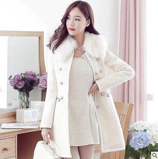 2017 Autumn Winter New Women Casual Fashion O-neck Wool Blends Medieval Outwear Coat Women Trench Fur Collar Long Jacket 2XLÎäåæäà è àêñåññóàðû<br><br>