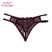 Buy Open Crotch Lace Women Thongs G Strings See Trough Transparent Sexy Panties Underwear Culotte Femme Erotic Lingerie