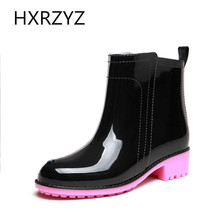 HXRZYZ winter fashion rain boots female simple candy color rain shoes women anti-skid low heel waterproof shoes lady ankle boots