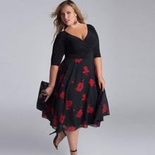 Buy Feitong Women Plus Size Sexy Dress V-Neck Floral Printed Half Sleeve Bodycon Ladies Loose Party Boho Beach Mid Dress Vestidos for $10.99 in AliExpress store