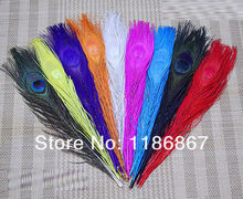 Hot wholesale 50pcs/Lot Dyed Mixed Colour Peacock Tail Feathers 10-12inch peacock feathers wedding decorations Free shipping