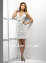 New Fashion White/Ivory Lace Summer Bridal Gown Above Knee Length Wedding Dresses Custom Crystals Bridal Dress Vestidos De Noiva