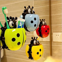 4 Colors Cute Ladybug Toothbrush Holder PP Material Creative Toothbrush Toothpaste Combination Holder Powerful Suction(China)