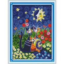 Cats Under The Sun Counted Cross Stitch 11CT 14CT Cross Stitch cartoon Cross-Stitch Kit Handmade Embroidery for Needlework