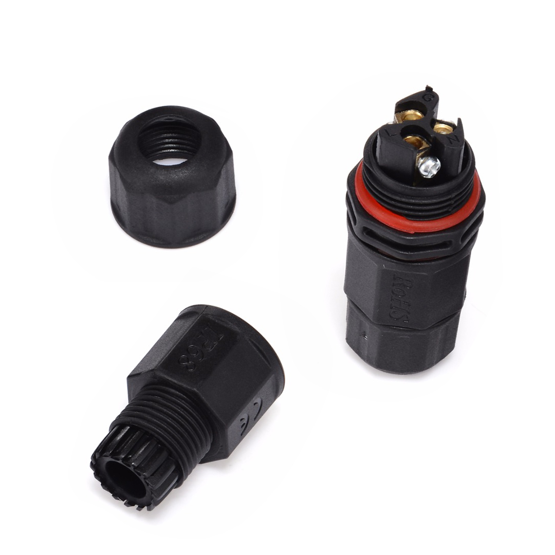 1pc Nylon IP68 Waterproof Outdoor Connector 2/3/4 Pin AC DC 10mm 15A TUV Screw Locking Joiner 2/3/4 Core Connector