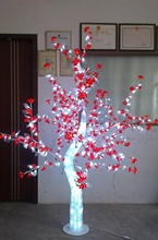 Free ship 1.5M/5ft  height Outdoor LED Crystal Cherry Tree Light Holiday Garden Wedding Decor 576 LEDs red flower +white leaf