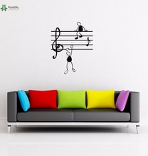 YOYOYU Vinyl Wall Decal Music Note Funny Stick Figure Lovely Children Room Home Cartoon Decoration Stickers FD147(China)