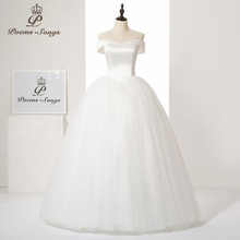 Poems Songs Sexy Boat neck style satin with silky organza wedding dress Vestido de noiva ball gown(China)