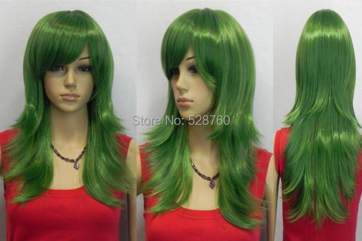 Dark Green Long wavy Oblique Bangs Synthesis Cosplay  Wig  Free shipping<br><br>Aliexpress