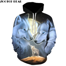 Wolf Printed 3d Hoodies Novelty Sweatshirts Fashion Casual Coats Male Hooded Jackets Funny Outwear Unisex Tracksuits ZOOTOP BEAR