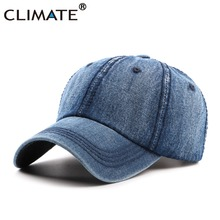 CLIMATE Men Blank Cool Denim Baseball Caps Casual Jeans Wear Cap Men Women Fashion Adjustable One Size Navy Blue Cool Hat Caps