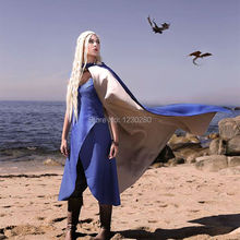 Game of Thrones Daenerys Targaryen Khaleesi Blue Dress Cosplay Costume With Cloak Halloween Costumes