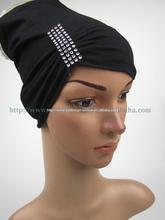 fashion islamic cap Black islamic turban muslim underscarfs with side pleats
