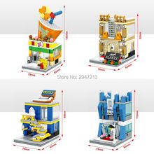 compatible lepin city mini Street View Building blocks amous fashion brand furniture mobile digital store milk drink shop toys