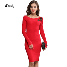 Long Sleeve Off Shoulder Slash Neck Sexy Club Women Floral Embroidery Dress Slim Bodycon Knit Sweater Midi Party Dresses Red(China)