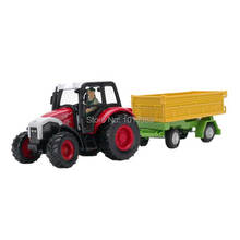 YJ 1/43 Scale Farm Vehicle Model Toys Tractor With Dump Trailer Diecast Metal Car Toy NEW In Box For Gift/Kids