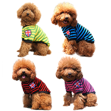 Puppy Shirt Small Pet Dog Clothes For Dogs TShirts Pet Pajamas Dog Cat Vest Jersey Pet Dog Suit Stripe USA Spring Pet Apparel30C(China)