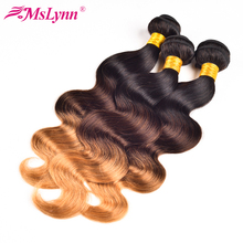 Buy Mslynn Ombre Hair Bundles Brazilian Body Wave Human Hair Weave 3 Bundle Deals T1B/4/27# Non Remy Hair Extension Double Hair Weft for $53.96 in AliExpress store