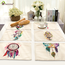 HAKOONA 4 Pieces Table Placemats  Colorful Dreamcatcher Printed Table Pads Cotton Linen Mats  Decoration 42*32cm