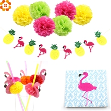 Flamingo Pineapple Garland Banners Paper Pompoms Flamingo Straws Wood Napkins Pool Summer Time Party Tropical Flamingo Decor